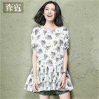 森宿 梦见~2015夏装新款文艺印花碎褶下摆连衣裙裙子图片