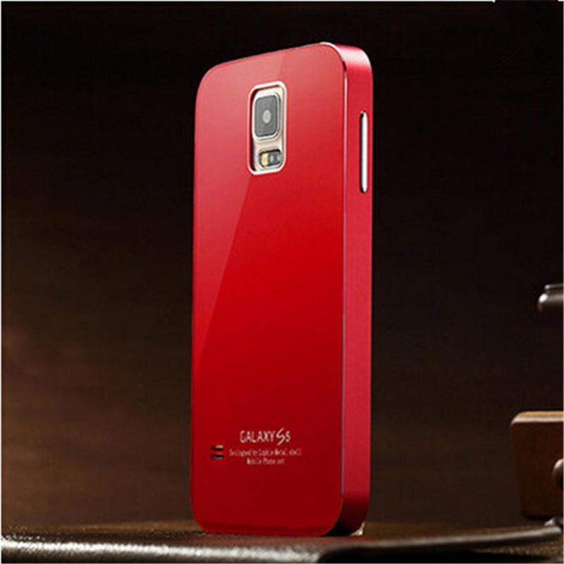 三星s5手机壳 i9600手机套 g9008v超薄金属边框后盖g9006v保护套_红色