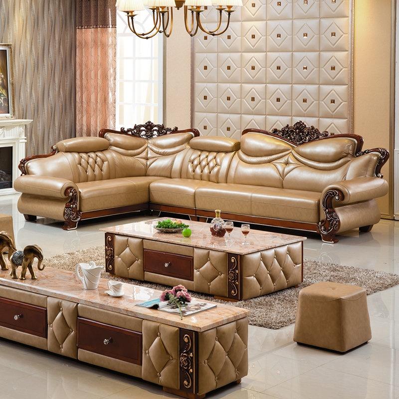 【俏夫人精品沙发】俏夫人欧式沙发客厅组合转角皮