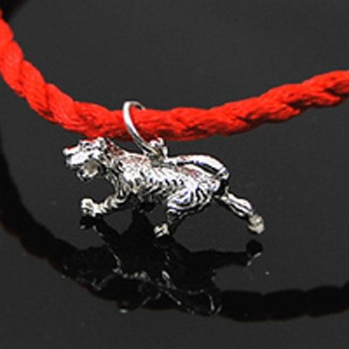 bear银饰-925纯银十二生肖手编红绳手链-虎图片