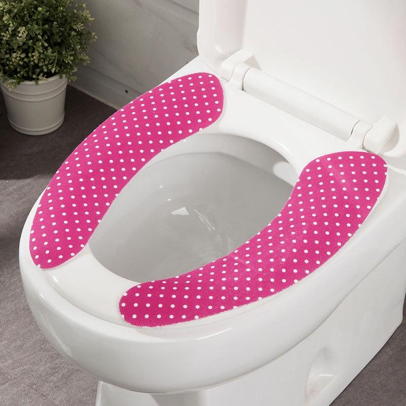 欧润哲 创意波点纹粘贴式马桶贴马桶套 厕所马桶圈坐便垫 4/8对套装