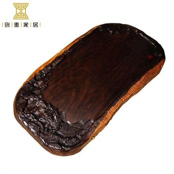 创惠家居 进口黑檀木雕刻茶盘 整块实木茶具茶台茶海 高山情调