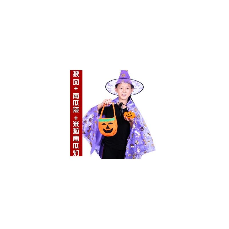 梦之艺万圣节儿童服装万圣节披风魔法师巫婆双层带纱披风斗蓬帽ws-9三