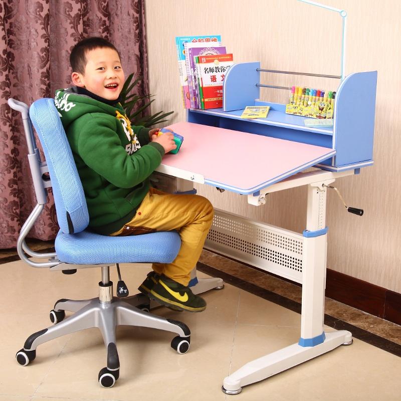 环保 可升降学习桌 学生书桌 写字台 儿童学习桌_蓝色学习桌 学习椅