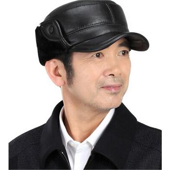 新款休闲皮帽子男士老年人帽子男保暖加厚棉帽