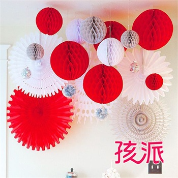 highparty/孩派 蜂窝球拉花生日派对用品年会创意纸装饰纸花纸球纸扇