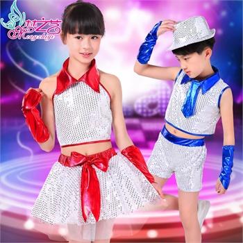 六一儿童演出服爵士舞爵士舞服男童街舞演出服装舞儿童表演服女童0291