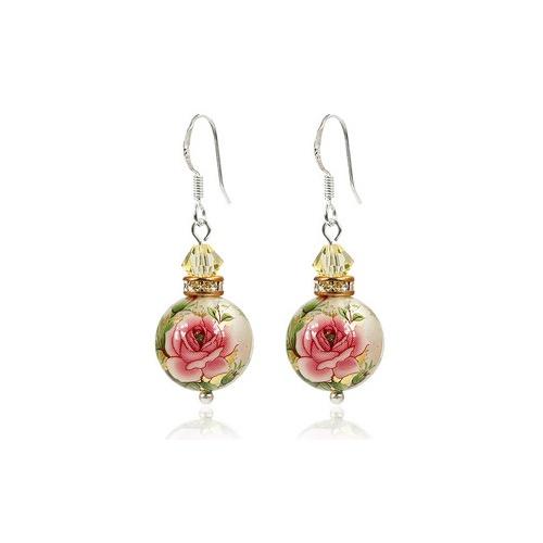 花魁 纯银 流苏 日本手绘珠与施华洛世奇 水晶耳环-tiomt