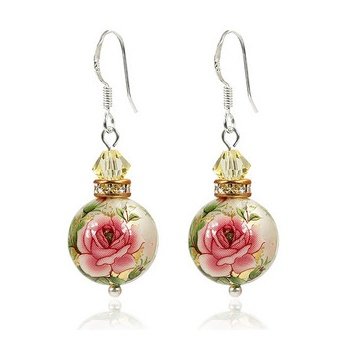 花魁 纯银 流苏 日本手绘珠与施华洛世奇 水晶耳环-tiomt浪漫甜美项