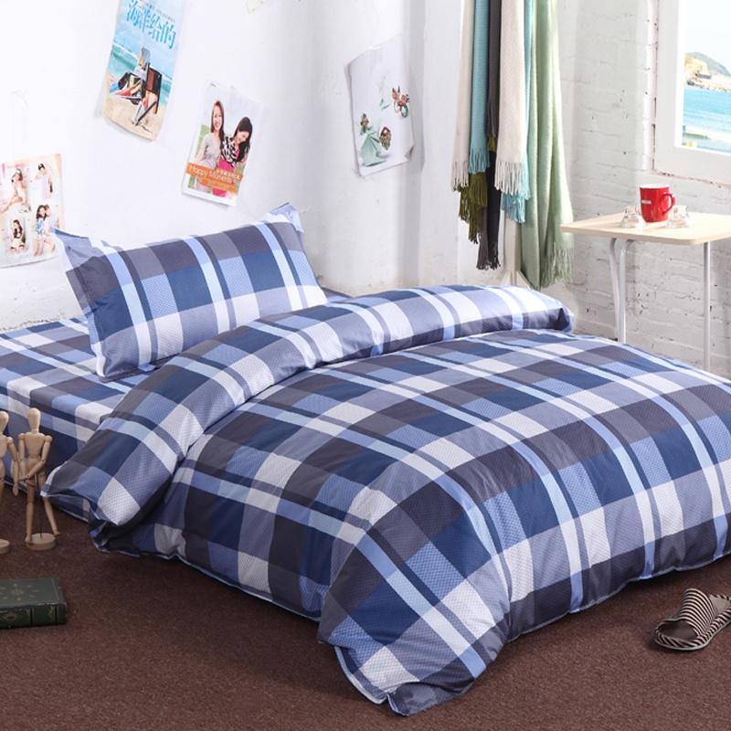 洛寐家纺 可爱儿童床上用品 全棉三件套 纯棉卡通幼儿园3件套a_蓝格子