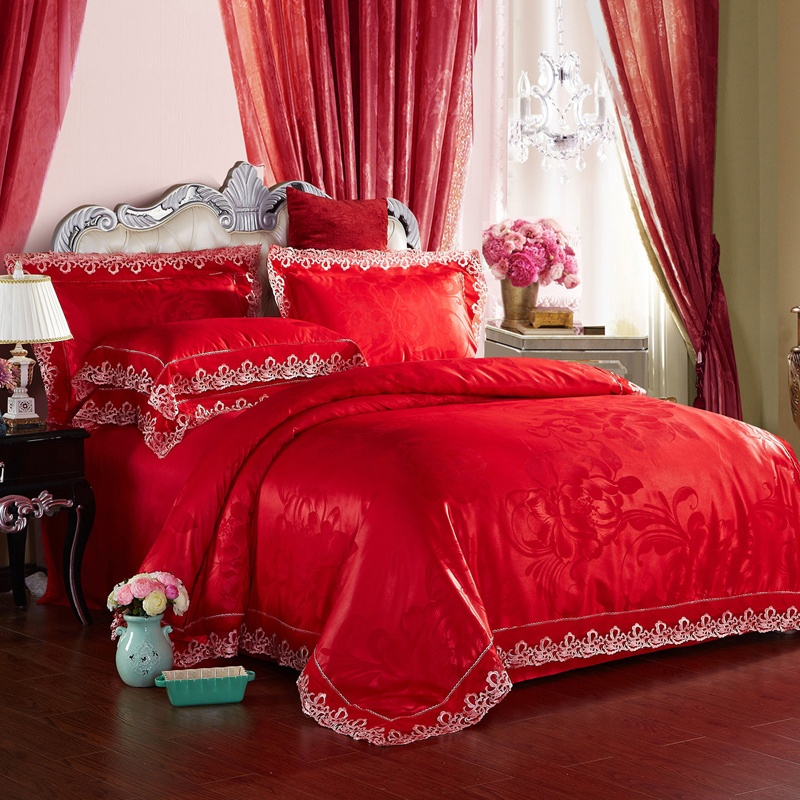 绚典家纺 莫代尔提花四件套 欧式贡缎纯棉婚庆被套床上用品包邮_灿烂