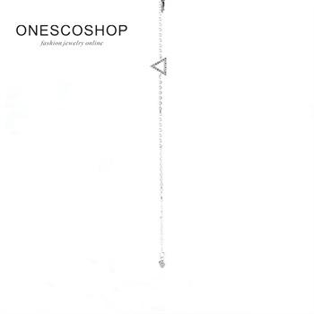 高兴珠宝925银空心几何三角形手链简约大气日韩时尚银