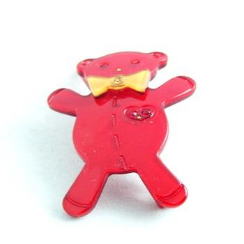 头饰-镶水钻红色小熊侧夹-韩国宝宝