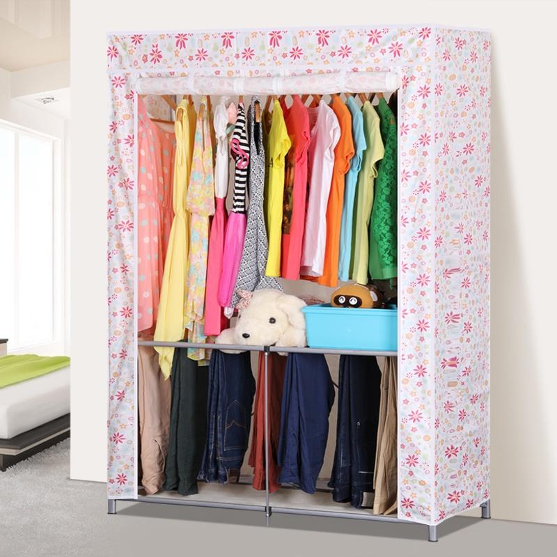 蜗家折叠布衣柜 免安装加粗钢管简易衣柜牛津布衣橱