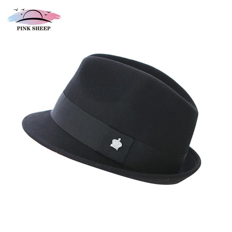 粉色绵羊 2014新款帽子男士女士毡帽羊毛帽礼帽秋冬季天爵士帽_皇冠