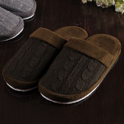 毛线编织防滑室内拖鞋
