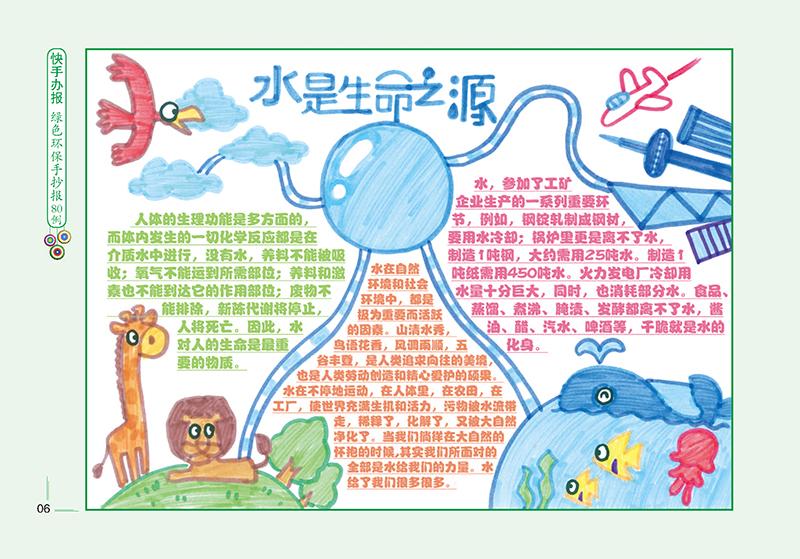 抄报80例(快手办报)   节约用水水是生命之源节约用电低碳环保保护水