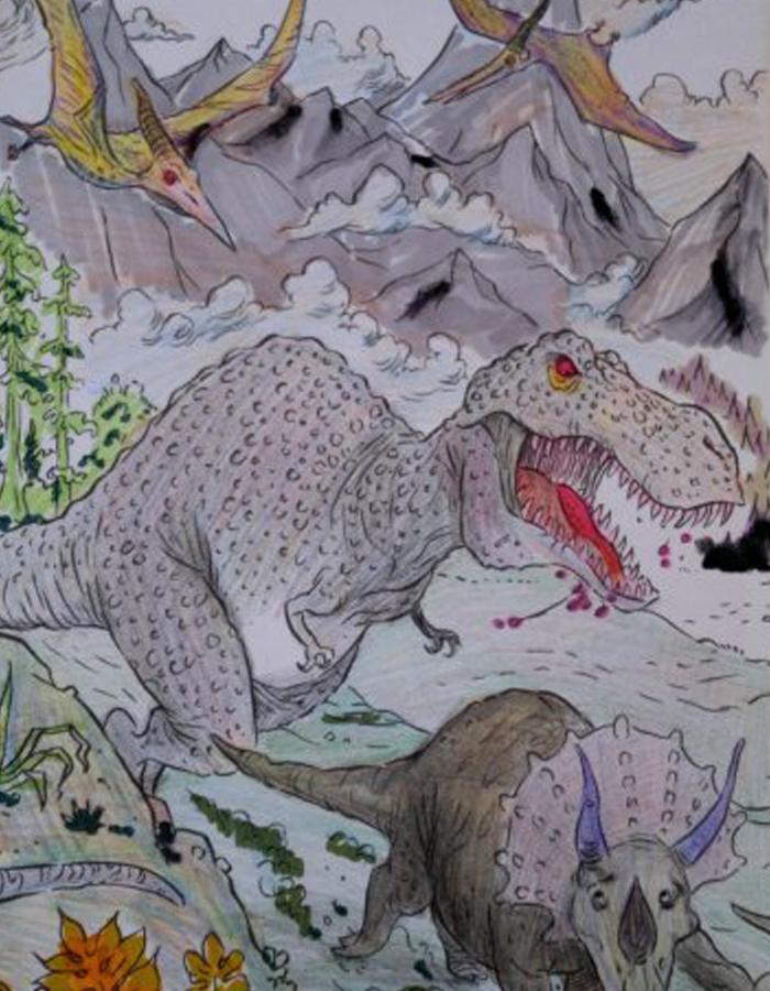彩铅恐龙画步骤图