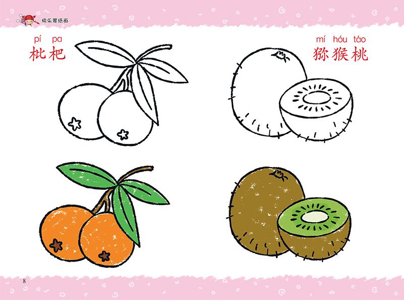 爱德少儿 快乐蒙纸画 水果 蔬菜 食物 幼儿童描摹涂色