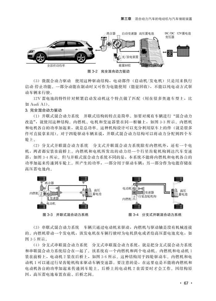 **章 新能源汽车基础知识 **节新能源汽车的定义和分类 1 一、新能源汽车的分类 1 二、纯电动汽车类型 2 第二节纯电动汽车 3 一、纯电动汽车的结构原理 3 二、纯电动汽车的模块 3 三、纯电动汽车驱动系统布置形式 4 四、纯电动汽车的关键技术 5 第三节混合动力电动汽车 6 一、混合动力电动汽车的定义 6 二、混合动力电动汽车的分类 6 三、混合动力汽车的结构原理 7 第四节其他类型燃料汽车 10 一、燃料电池电动汽车 10 二、气体燃料汽车 11 第二章 纯电动汽车 **节纯电动汽车概述 14