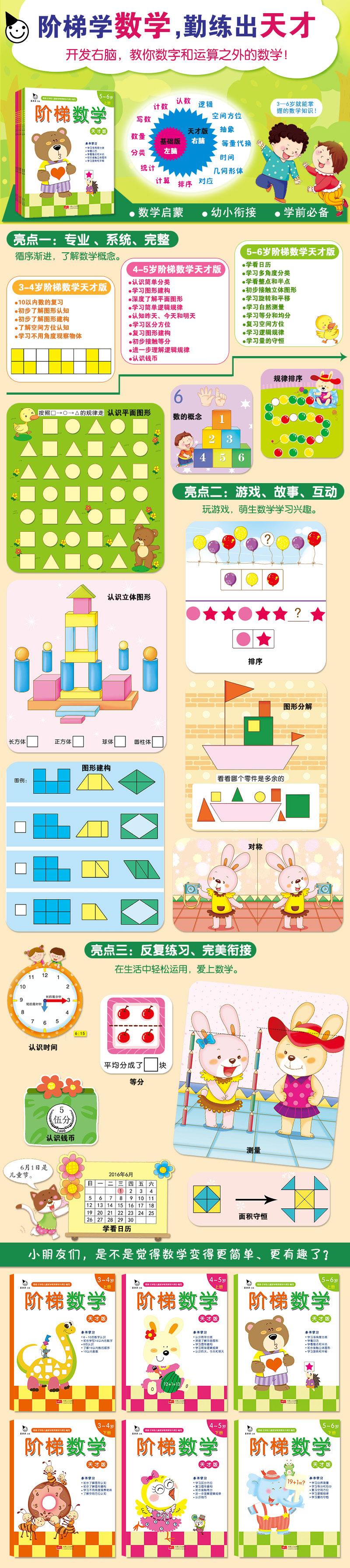 《3~4岁上册》 5以内的数 几朵花(数数,写数字)1 几只小动物(数数,写数字)2 几个玩具(数数,写数字)3 6~10的数 数字6(认识6)4 写数字6(写数字)5 数出6(数数)6 数字7(认识7)7 写数字7(写数字)8 数出7(数数)9 数字8(认识8)10 写数字8(写数字)11 数出8(数数)12 数字9(认识9)
