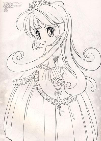 花之公主之美少女 美少女公主鞋 铅笔画美少女公主