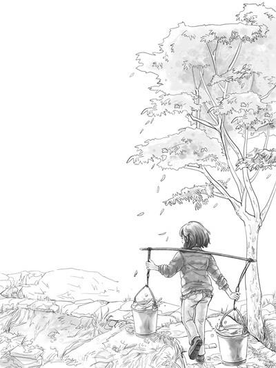 童年黑白插画手绘